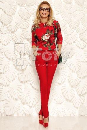 Pantalon roșu cu talie înaltă