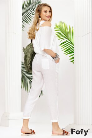 Pantaloni dama albi de in premium cusatura laterala argintie fina
