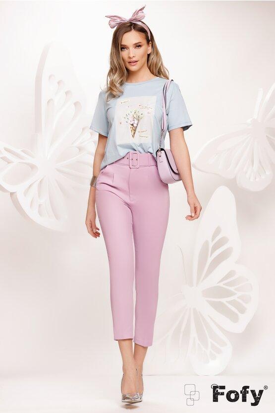 Pantaloni dama eleganti conici lila cu centura