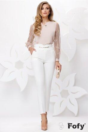 Pantaloni de dama albi conici cu talie inalta si accesoriu detasabil