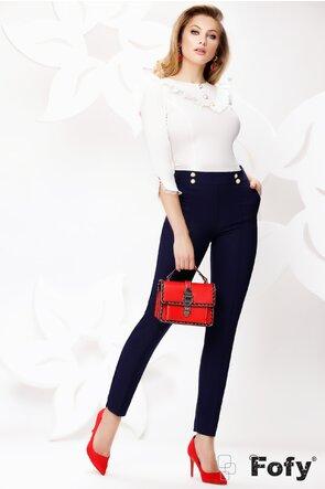 Pantaloni Fofy dama eleganti bleumarin conici cu nervura pe picior