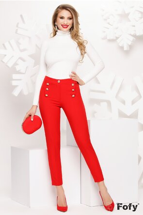 Pantaloni Fofy rosii cu nasturi metalici