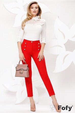 Pantaloni Fofy rosii cu nasturi metalici cu perle