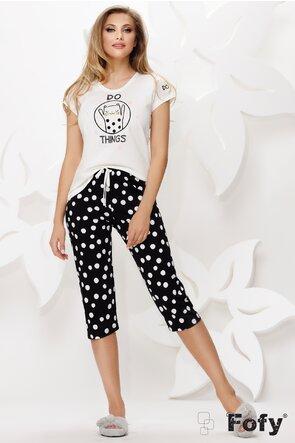 Pijama bumbac cu tricou si pantaloni trei sferturi cu buline