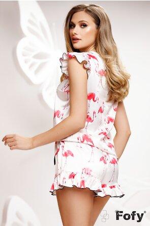 Pijama Fofy din saten premium 2 piese imprimeu cu flamingo