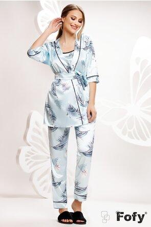 Pijama Fofy in saten premium 3 piese imprimeu bleu cu frunze de pamlmier