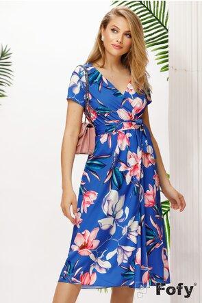 Rochie albastra de vara decoltata imprimeu floral cu crapatura pe picior