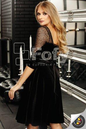 Rochie eleganta cloș din catifea neagră