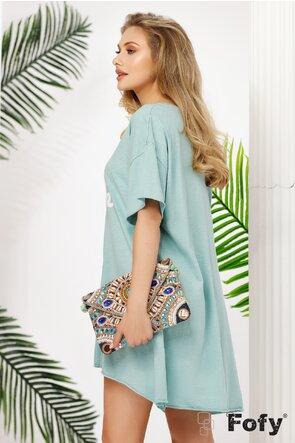 Rochie dama de vara turcoaz stil tricou larg cu imprimeu