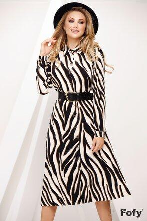 Rochie dama Fofy stil camasa cu imprimeu animal print