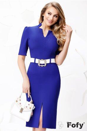 Rochie de dama albastra royale mulata cu catarama perle si strasuri