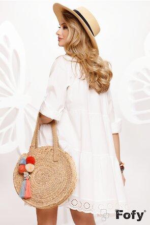 Rochie de vara alba stil camasa din bumbac si dantela brodata