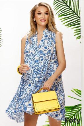 Rochie de vara albastru de Grecia din vascoza racoroasa
