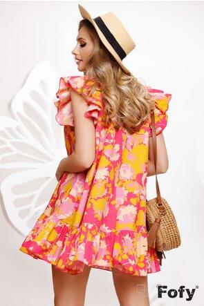 Rochie de vara din bumbac imprimat in tonuri estivale