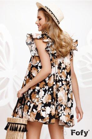 Rochie de vara din bumbac imprimat in tonuri naturale