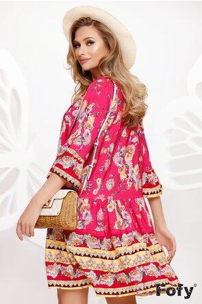 Rochie de vara din bumbac racoros imprimeu tonic