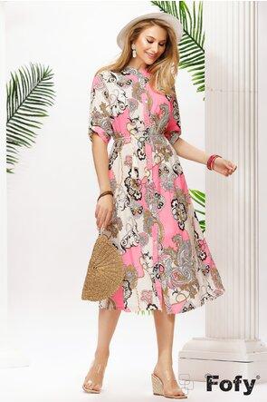 Rochie de vara midi din bumbac stil camasa imprimeu fuchsia