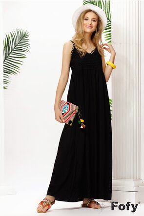 Rochie de vara neagra cu bust crosetat