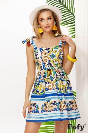 Rochie de vara scurta  cu bretele si elastice pe spate