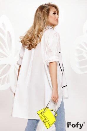 Rochie de vara stil camasa oversize din bumbac alb cu pisici