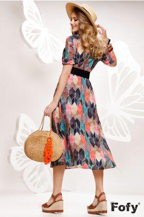Rochie eleganta de zi lunga plisata cu maneca scurta