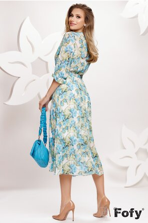 Rochie eleganta decoltata cu imprimeu floral si fusta plisata