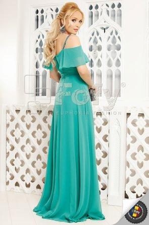 Rochie elegantă din voal turquoise cu umeri căzuți