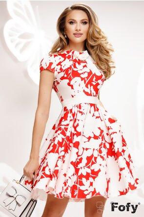 Rochie Fofy clos imprimeu floral rosu cu trandafiri lucrati manual