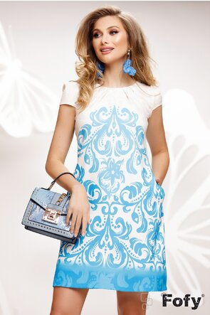 Rochie Fofy de vara cu buzunare si croi lejer imprimeu floral albastrul
