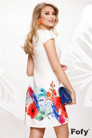 Rochie Fofy de vara cu buzunare si croi lejer imprimeu flori aloha