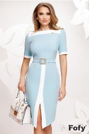 Rochie Fofy eleganta bleu cu croi modern si catarama de cristale