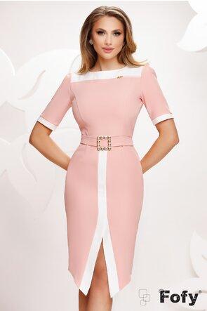 Rochie Fofy eleganta roz cu croi modern si catarama de cristale