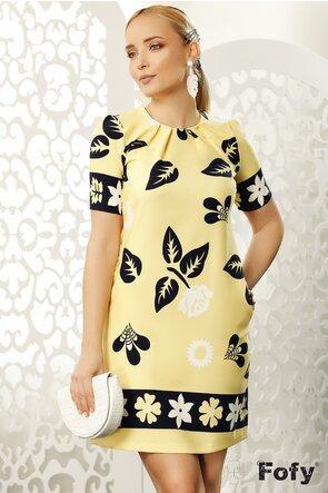 Rochie Fofy galbena cu imprimeu floral stilizat