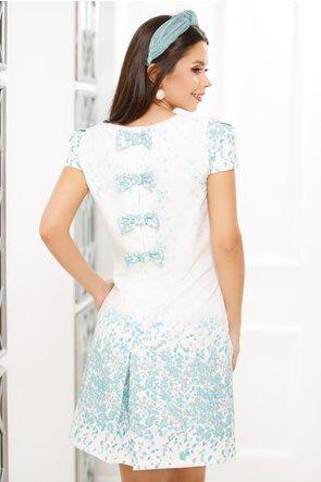 Rochie Fofy lejera cu imprimeu turquoise si funde pe spate