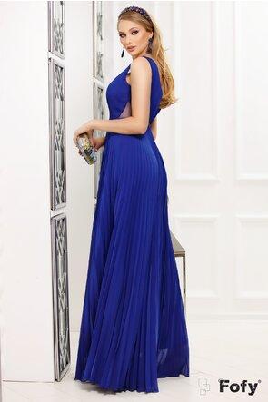 Rochie Fofy lunga plisata de ocazie albastra cu decolteu adanc