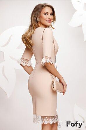 Rochie Fofy nude eleganta cu dantela si nasturi pretiosi cu perle si strassuri