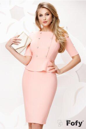 Rochie Fofy office roz cu peplum si nasturi perla
