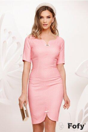 Rochie Fofy roz eleganta decoltata cu buline si fundite