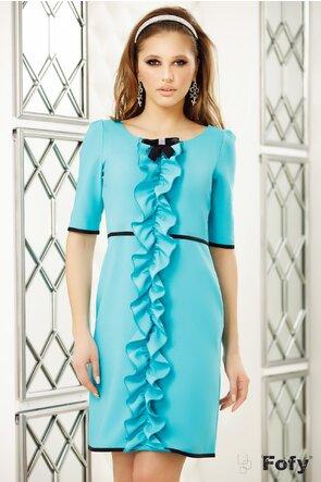 Rochie Fofy turquoise cu volan frontal stilizat