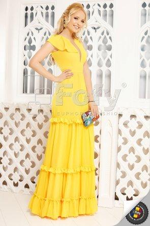 Rochie galbenă lungă cu volane
