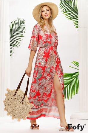 Rochie lunga de vara din saten rosu lejera cu crapatura pe picior
