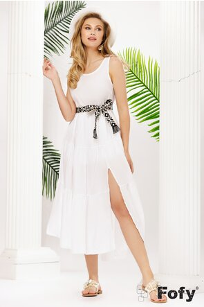 Rochie midi de vara alba din bumbac cu cordon aztec alb cu negru