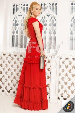 Rochie roșie lungă cu volane
