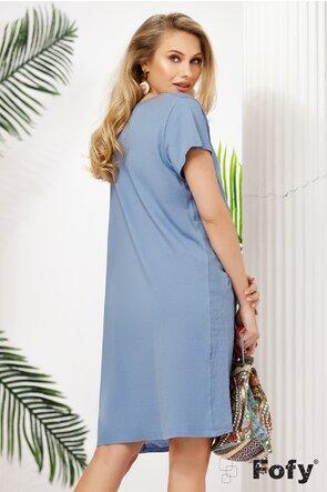 Rochie scurta  albastra de vara racoroasa  din in cu buzunare