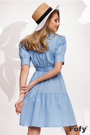 Rochie stil camasa din bumbac bleu