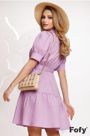 Rochie stil camasa din bumbac lila