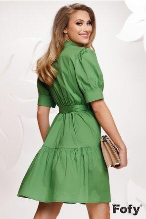 Rochie stil camasa din bumbac verde