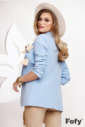 Sacou dama bleu cu ursulet la buzunar