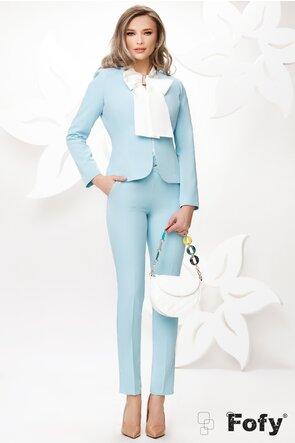 Sacou dama elegant Fofy bleu cu croiala cambrata