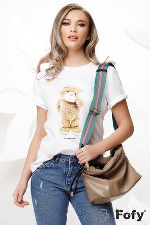 Tricou alb dama cu ursulet imprimat si pe fata si pe spate